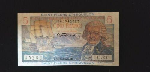 Saint Pierre and Miquelon ND UNCIRCULATED 1950 5 Francs P-22