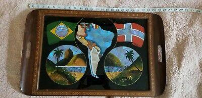 Reverse painted glass deco souvenir Vtg Brazil Wood flag globe Butterfly Tray