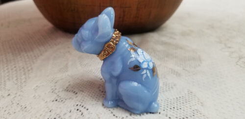 Glass French Bulldog Delphite Blue, Hand Painted Collar & Roses Signed Figurine