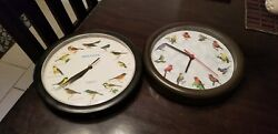 (Lot of 2) 8  Singing Bird Wall Clock