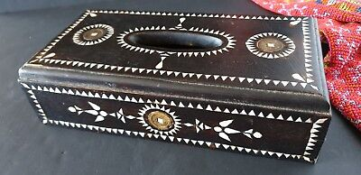 Old Javanese Inlaid Tissue Box with Coins …beautiful display & accent piece...