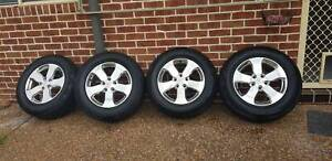 4 x Jeep cherokee wheels and tyres 4x4 Valentine Lake Macquarie Area Preview