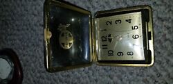 VINTAGE Folding Travel Alarm Clock with Brass Case Trim SANTA FE RAIL