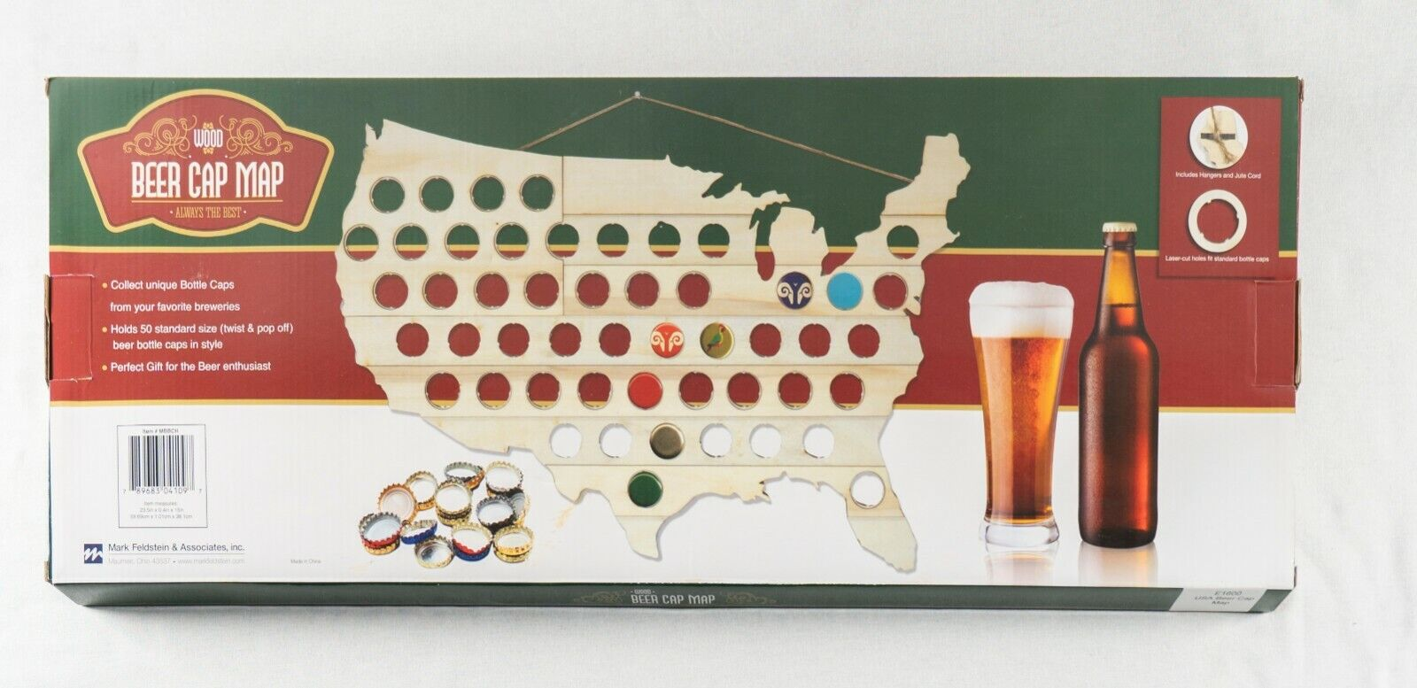 Wood Beer Cap Map Collection Man Cave Wall Decoration Gift 50 Laser-Cut Slots Bottle Caps