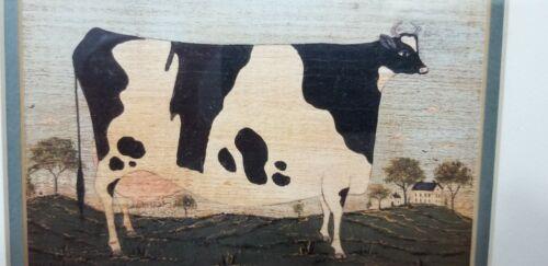 Framed WARREN KIMBLE PRINT COW COUNTRY FARM DECOR Rustic Wood FA