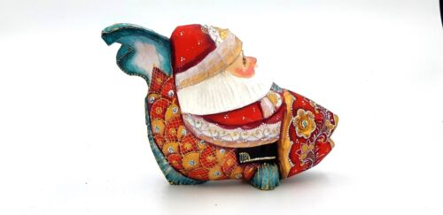"""4.7"""" Wooden Carved Santa Claus on fish Hand carved painted Christmas decoration"""