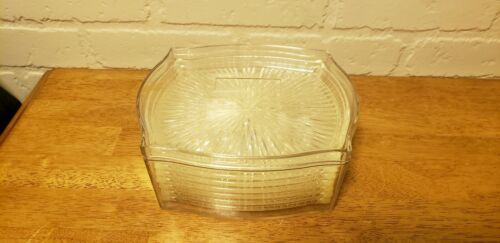 MID-CENTURY VINTAGE LUCITE PLASTIC TRAYS IN A MATCHING LUCITE STORAGE BOX.