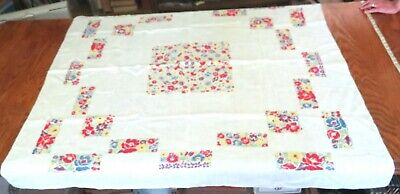 Table Cloth Vintage Stencil-like Multi-coloured Floral 50 by 52 inches.