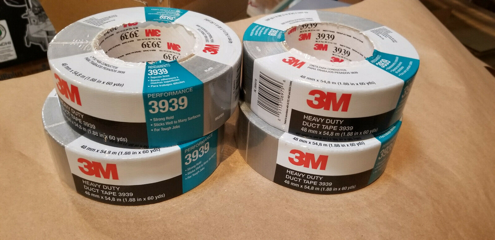 3M Heavy Duty Duct Tape 3939 Silver, 48 mm x 54.8 m 9.0 mil   ( 4-ROLL PACK )