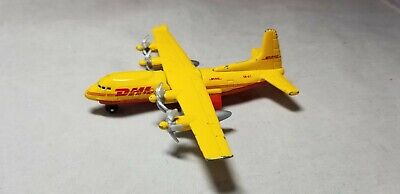 Matchbox Skybusters DHL Transport Plane Die Cast Prop Mattel Airplane Yellow