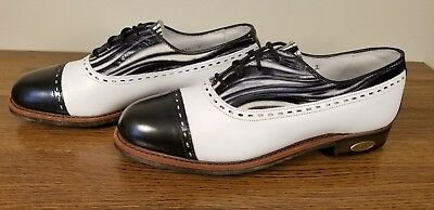 Cap Toe Golf Shoe (FootJoy Classics Two Tone Cap Toe Zebra Print Leather Golf Shoe Women's 6.5)