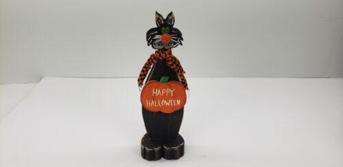 "Vintage Folk Art Handcrafted Whimsical Black Cat Halloween 8 1/2""H"
