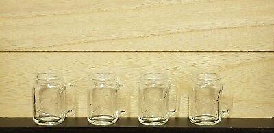 4 Stück MASON JARS Schnapsgläser mit Griff | 3,5cl | Mini Glas | Henkel Design