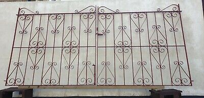 Reclaimed Driveway Garden Gates Pair Vintage 5ft x 5ft Red Oxide