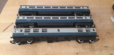 oo gauge 3x intercity 125 2 coaches and buffey car blue and gray hornby? Job lot