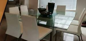 Modern Thick Glass Top Dining Table 8x White Leather Chairs Cheap