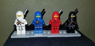 Lego Ninjago Lot of 4 Minifigures Jay, Cole, Zane, Kai With Katana Swords