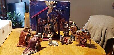 Kirkland Signature 13 Piece Porcelain Nativity Set HandPainted Wood Creche