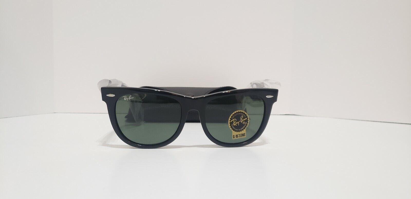 RayBan RB2140 Classic Wayfarer Sunglasses W901 Black Frame Green Lens 54MM