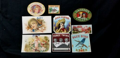 Lot of NINE CIGAR BOX LABELS Original BLUE BIRD Inn FAWN Florido DICK CUSTER E8