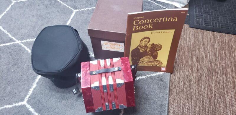 Vintage Concertina 20 key soft carrying case andplaybook German