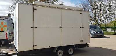 14ft x 7ft (apx) Box Trailer with large side opening (ex-exhibition), twin axle