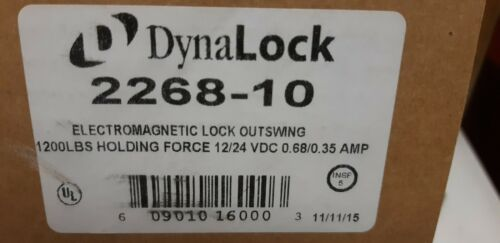 DynaLock 2268-10 Electromagnetic Mag Lock Outswing 1200 lbs 12/24 VDC