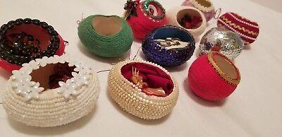 11 Vtg Real Chicken Egg Diorama Christmas Ornaments Angels Bells Santa Flowers