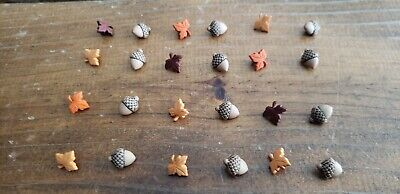 "Novelty Buttons (new) 1/2"" (24) ACORNS & LEAVES #6000"
