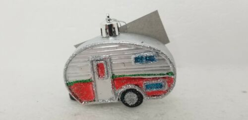 Trailer Camper Trailer RV Ornament Christmas Holiday Tree Collectible Silver Red