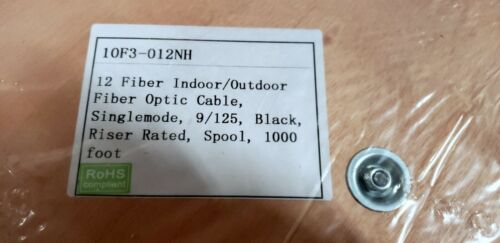 12 Fiber Indoor/Outdoor Fiber Optic Cable Singlemode 9/125 Black Riser 1000FT