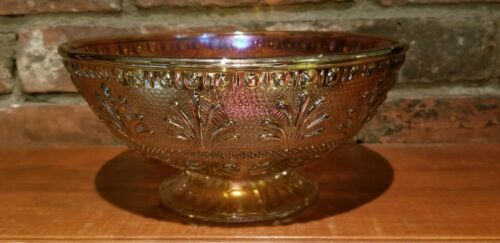 Carnival glass bowl w Art Nouveau designs, Marigold (orange) iridescent, Vintage