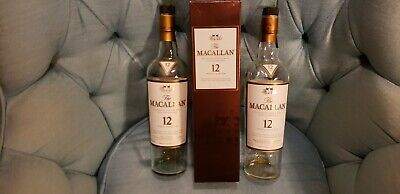 Two The Macallan Highland Single Malt Scotch Whisky 12 years old Empty (Macallan 12 Year Highland Single Malt Scotch Whiskey)