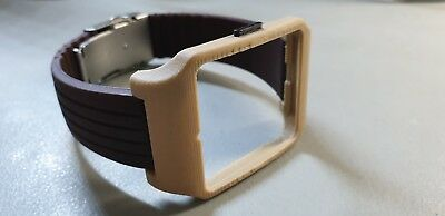 Sony SmartWatch 3 SWR50 Wood Effect Adapter & Brown Silicone Strap and Clasp