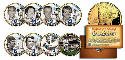 YANKEES LEGENDS 24K Gold Plated NY State Quarters US 7-Coin Set +Bonus Babe -