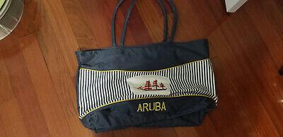 Aruba Blue White Red Nautical Large Waterproof Beach Bag - Nautical Bag