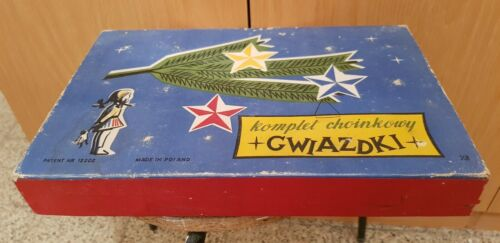 Vintage Rare Polish  Christmas Garland LIghts Komplet Choinkowy CWIAZDKI Polska