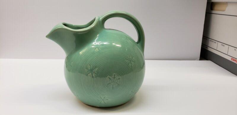 Vintage Shawnee aqua snowflake ball pitcher marked U.S.A.