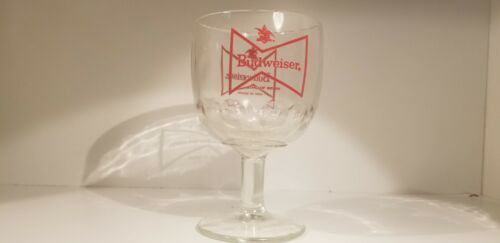Vintage Budweiser RED Bowtie Thumbprint Goblet Glass Beer Mug Mint Condition