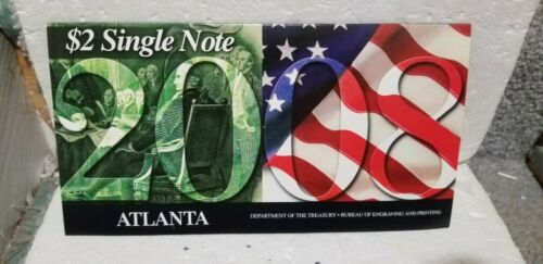 """US BEP 2008 $2 2003A Atlanta Note Serial """"2008..."""" Set Limited SOLD OUT"""