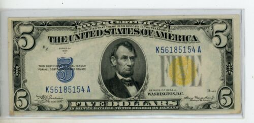 $5 1934-A North Africa WWII Emergency Silver Certificate Fr#2307 # 5154
