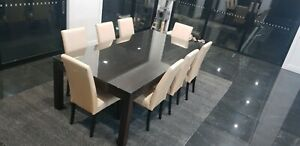 Dining Table Hardwood Timber with Glass Top with 10 dining chairs
