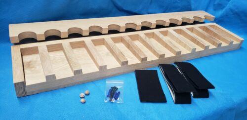 12 gun - wood closet gun rack with floor rest - Solid Oak
