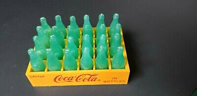1993 Vintage Coca Cola Miniature Yellow Case Red Script Coca Cola with Bottles