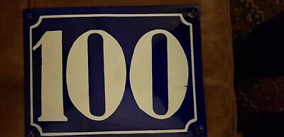Vintage Original Old French Blue Enamel House / Door Number 100  Large