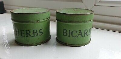 Two Small Vintage  Green Storage Tins