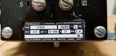 Powerstat Variable Autotransformer Type 116cu 5060hz 1ph 120v In 0-140v Out 10a