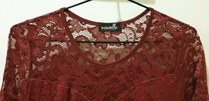 Burgundy red Lace Straight Dress size 14/16
