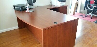 Business Office Pro Right Handed L-Shaped Desk with 3-drawer Mobile -
