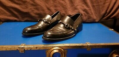 VINTAGE SIZE 8 GUCCI MENS BLACK LEATHER LOAFERS MADE IN ITALY